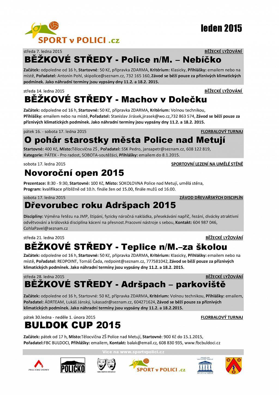 Lednový přehled sportovních akcí na Policku