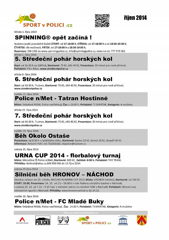 Měsíční přehled sportovních akcí na Policku